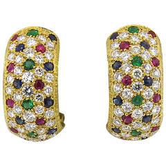 Buccellati Sapphire Emerald Ruby Diamond Gold Earrings