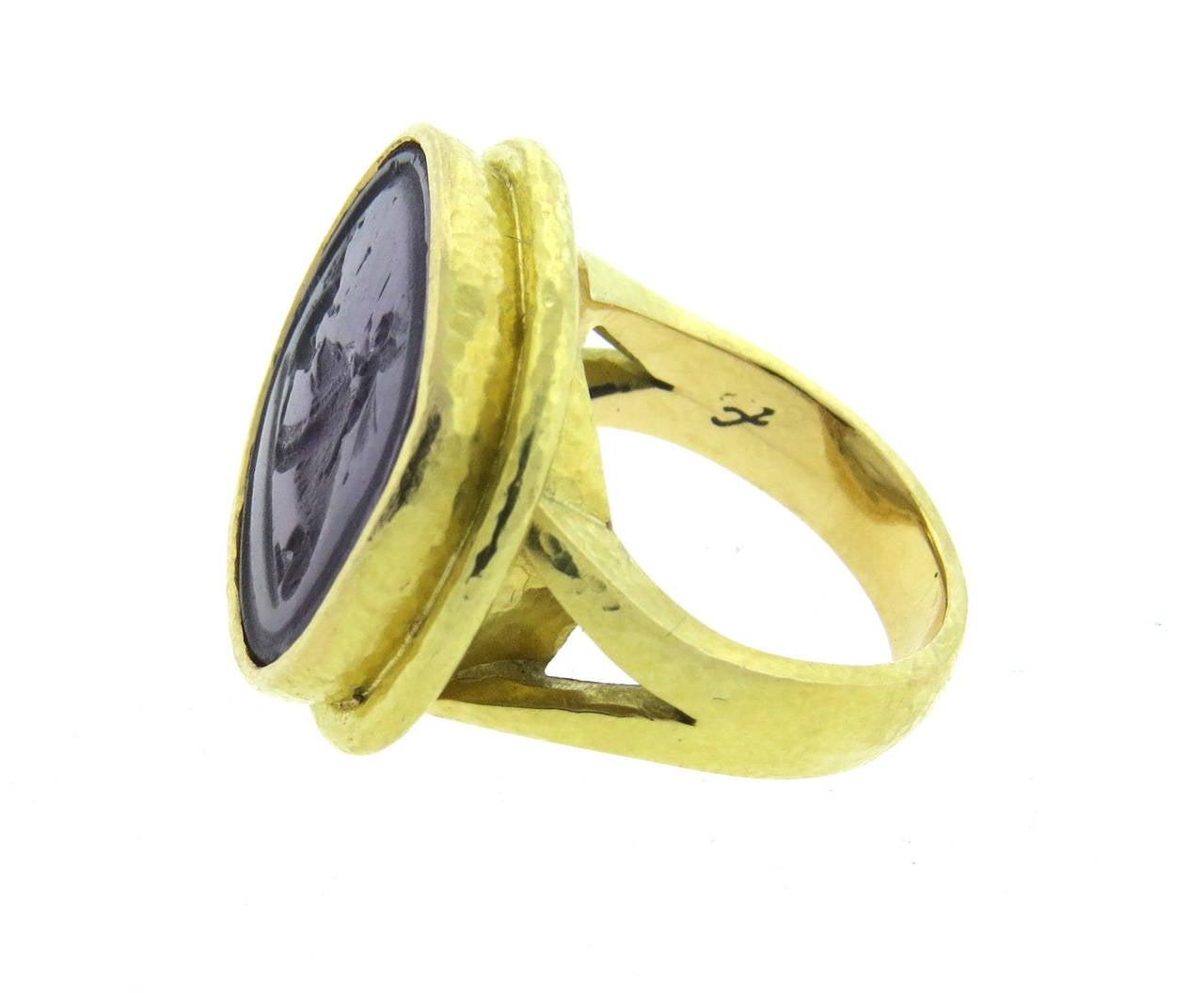 elizabeth locke gold venetian glass intaglio ring at 1stdibs