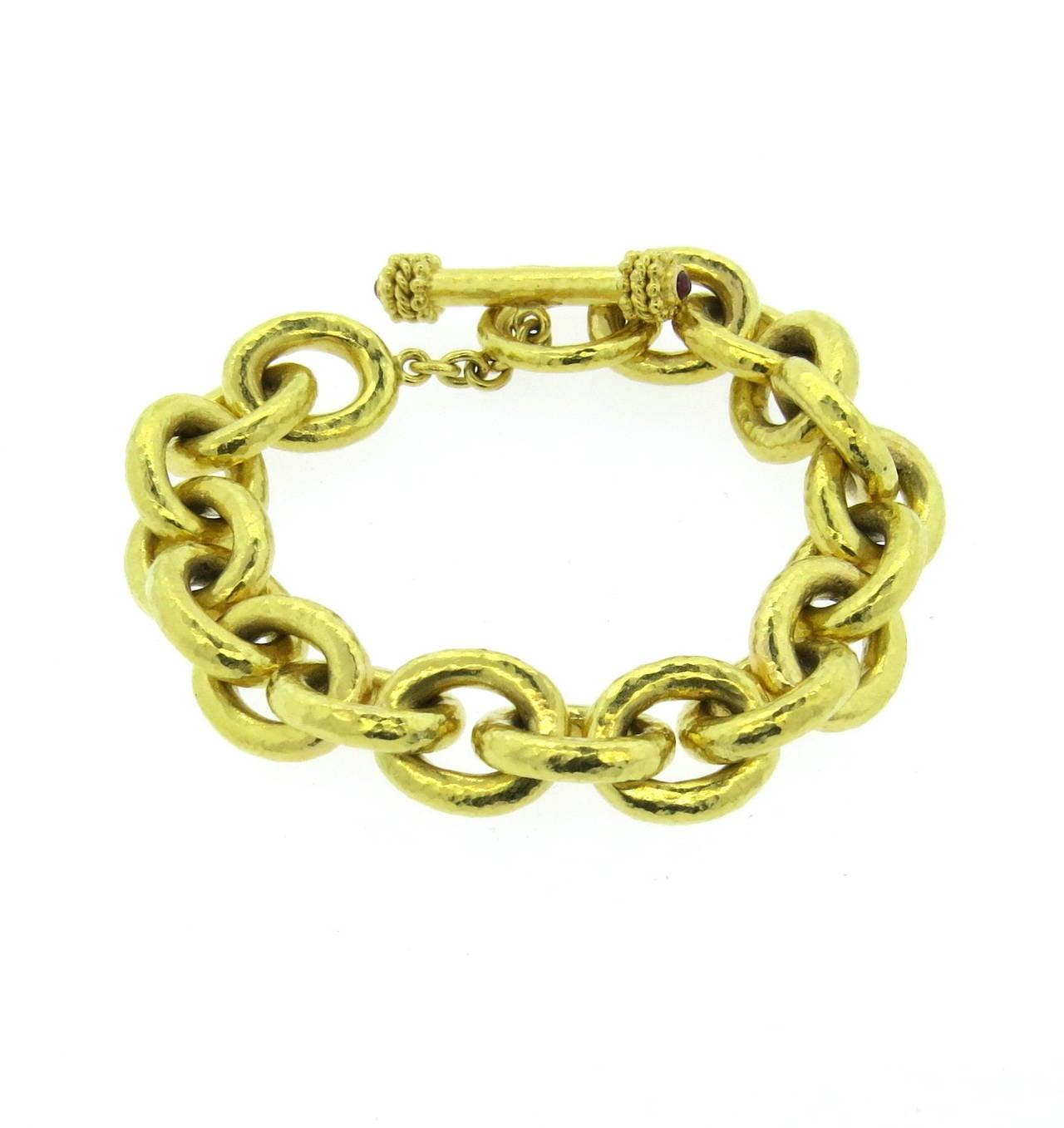 elizabeth locke gold ruby large link toggle bracelet at