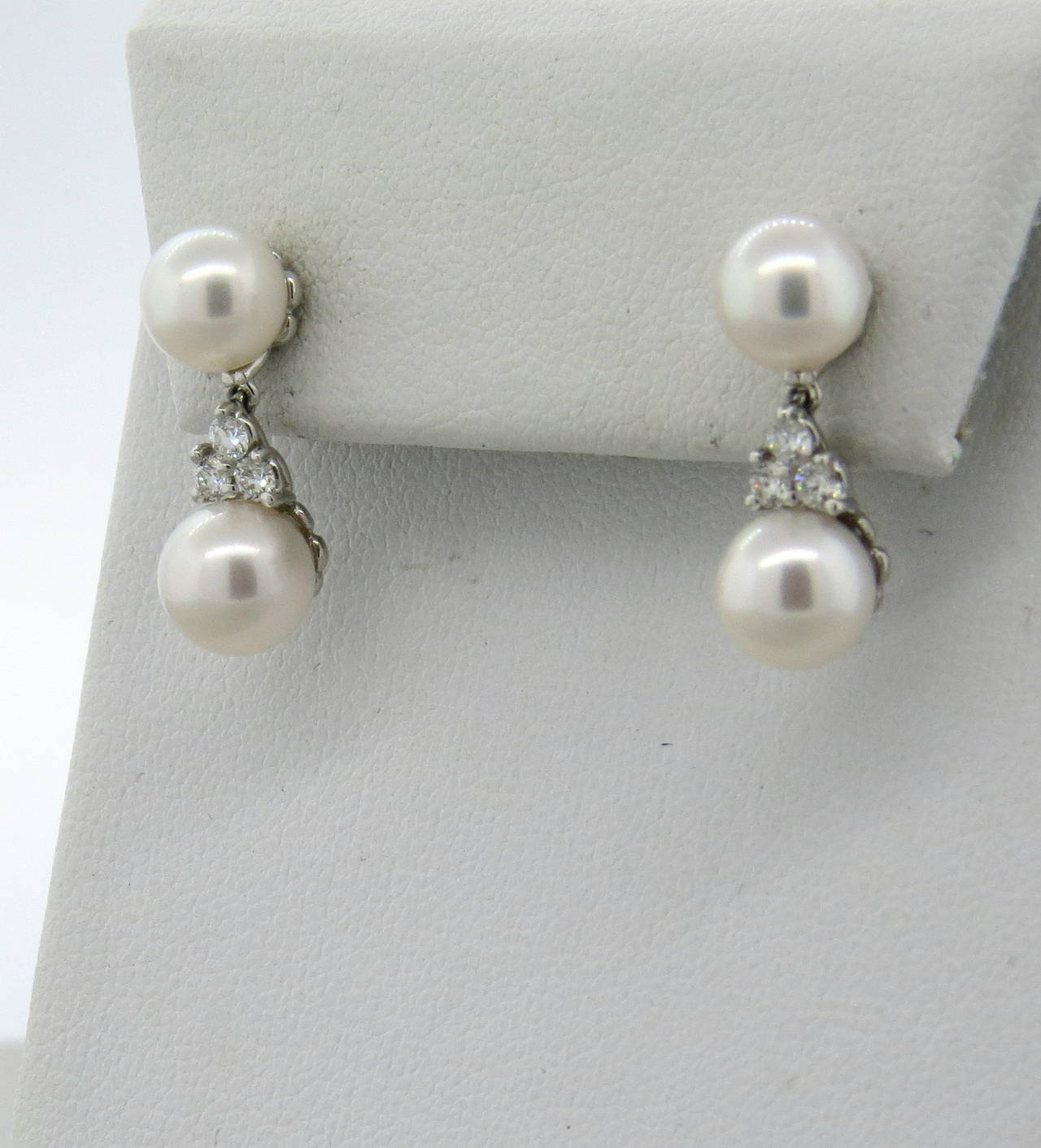 Tiffany Co Aria Platinum Pearl Diamond Drop Earrings In Excellent Condition For