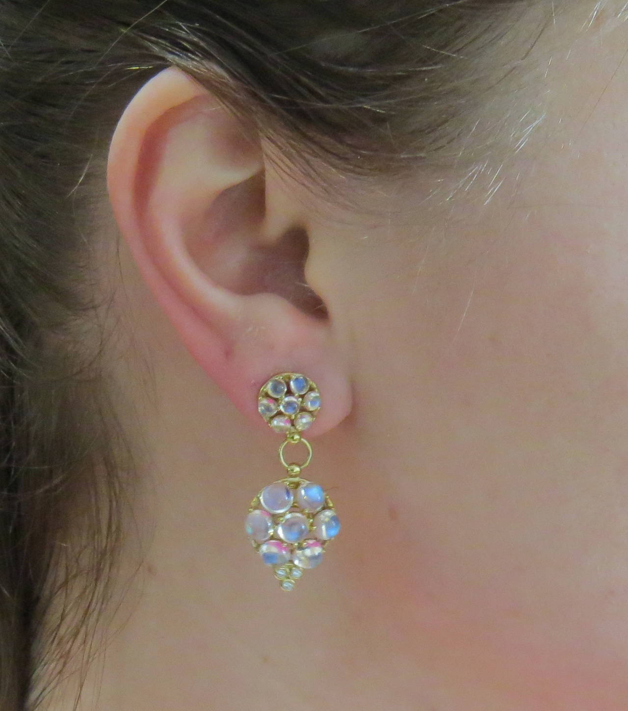Temple St Clair Moonstone Diamond Gold Drop Earrings In New Condition For Lahaska