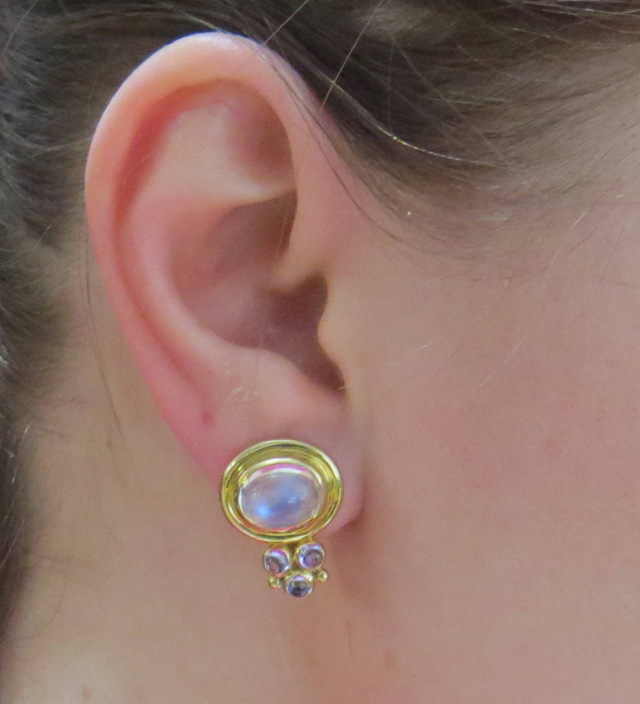 18k Gold Earrings By Temple St Clair Featuring Moonstone Cabochons Are 20mm