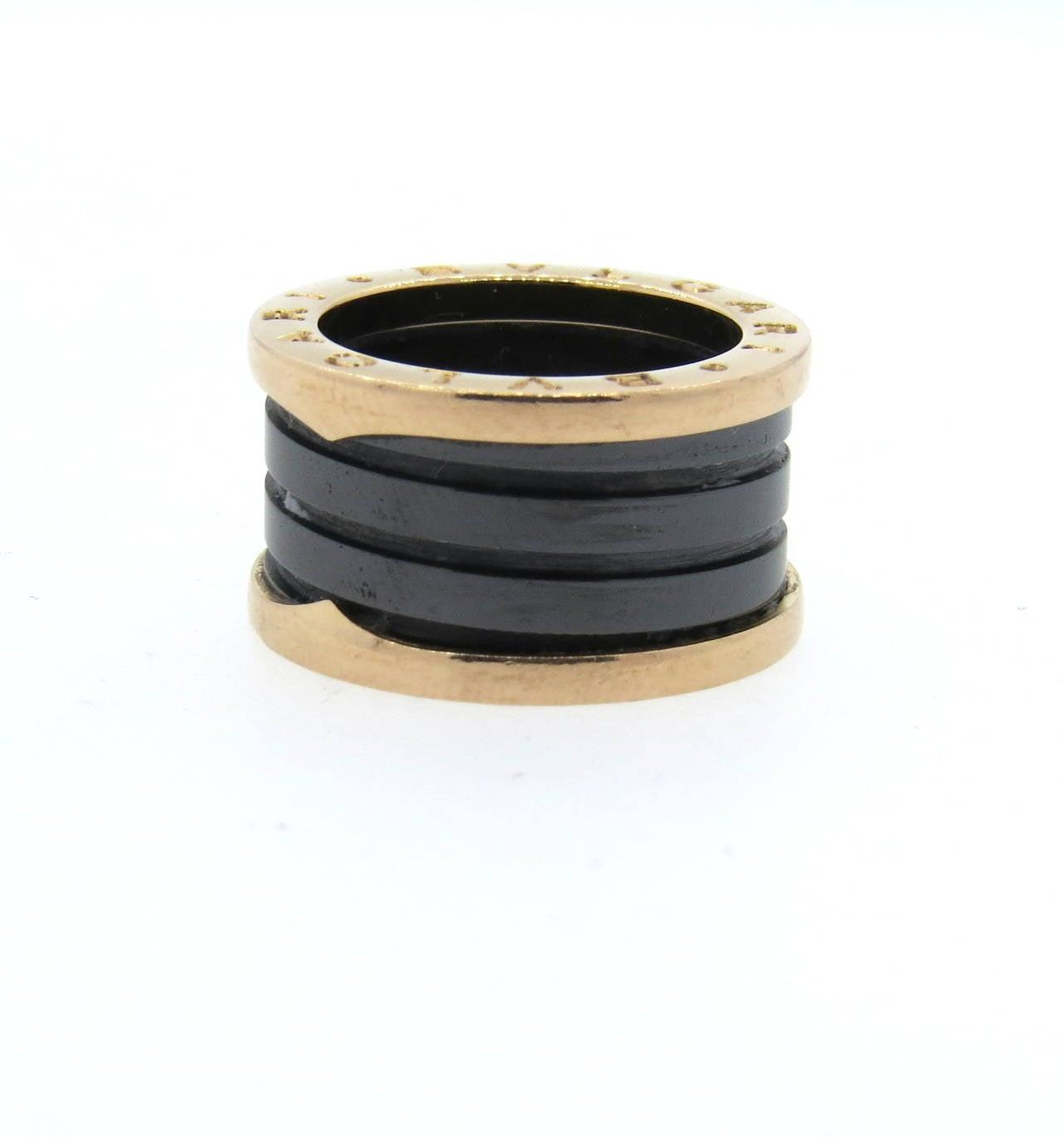 Bulgari B.Zero1 Ceramic Gold Band Ring 2