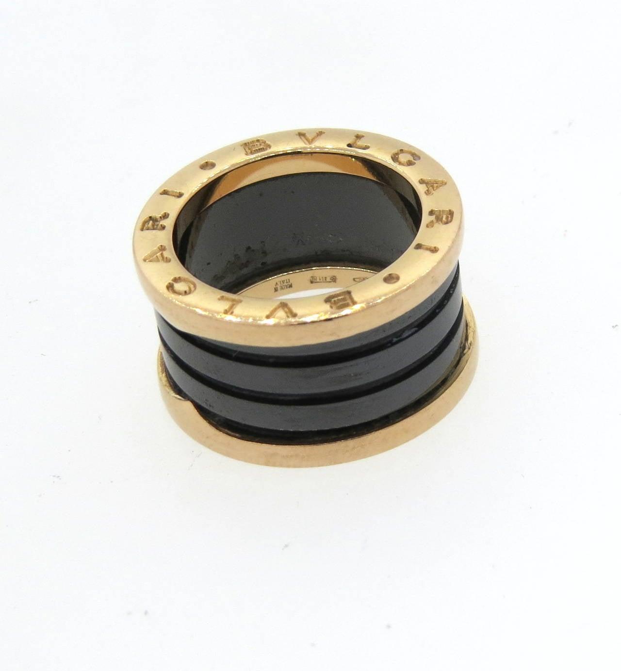Bulgari B.Zero1 Ceramic Gold Band Ring 3
