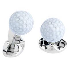Deakin & Francis Sterling Silver White Enamel Golf Ball Cufflinks