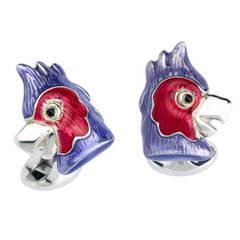 Deakin & Francis Sterling Silver Enamel Parrot Cufflinks