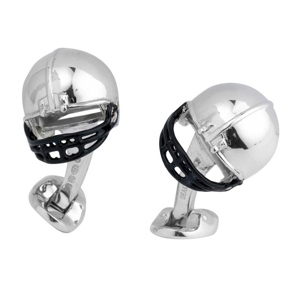 Deakin & Francis Sterling Silver American Football Helmet Cufflinks