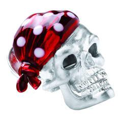 Deakin & Francis Ruby Red Bandana Sterling Silver Skull Lapel Pin
