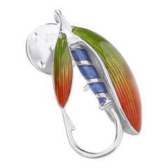 Deakin & Francis Sterling Silver Enamel Fishing Fly Lapel Pin