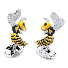 Deakin & Francis Enamel Sterling Silver Wasp Cufflinks