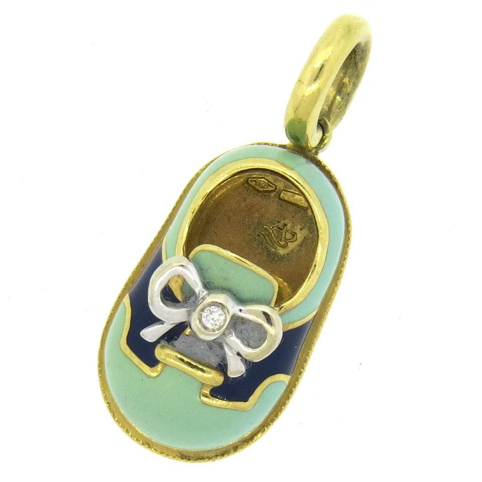 Aaron Basha Gold Diamond Enamel Baby Shoe Charm Pendant at