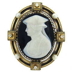 Fine Antique Gold Natural Pearl Hardstone Cameo Diamond Brooch