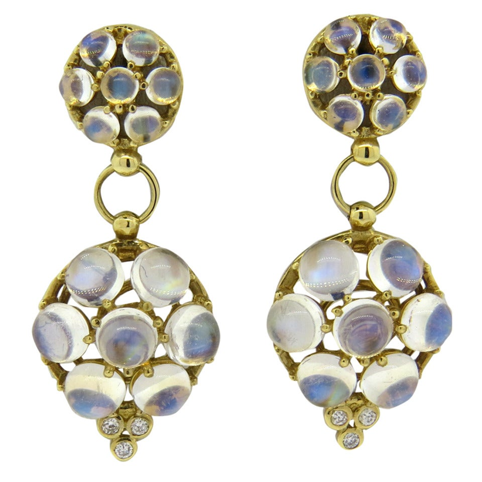 Temple St. Clair Moonstone Diamond Gold Drop Earrings at 1stdibs