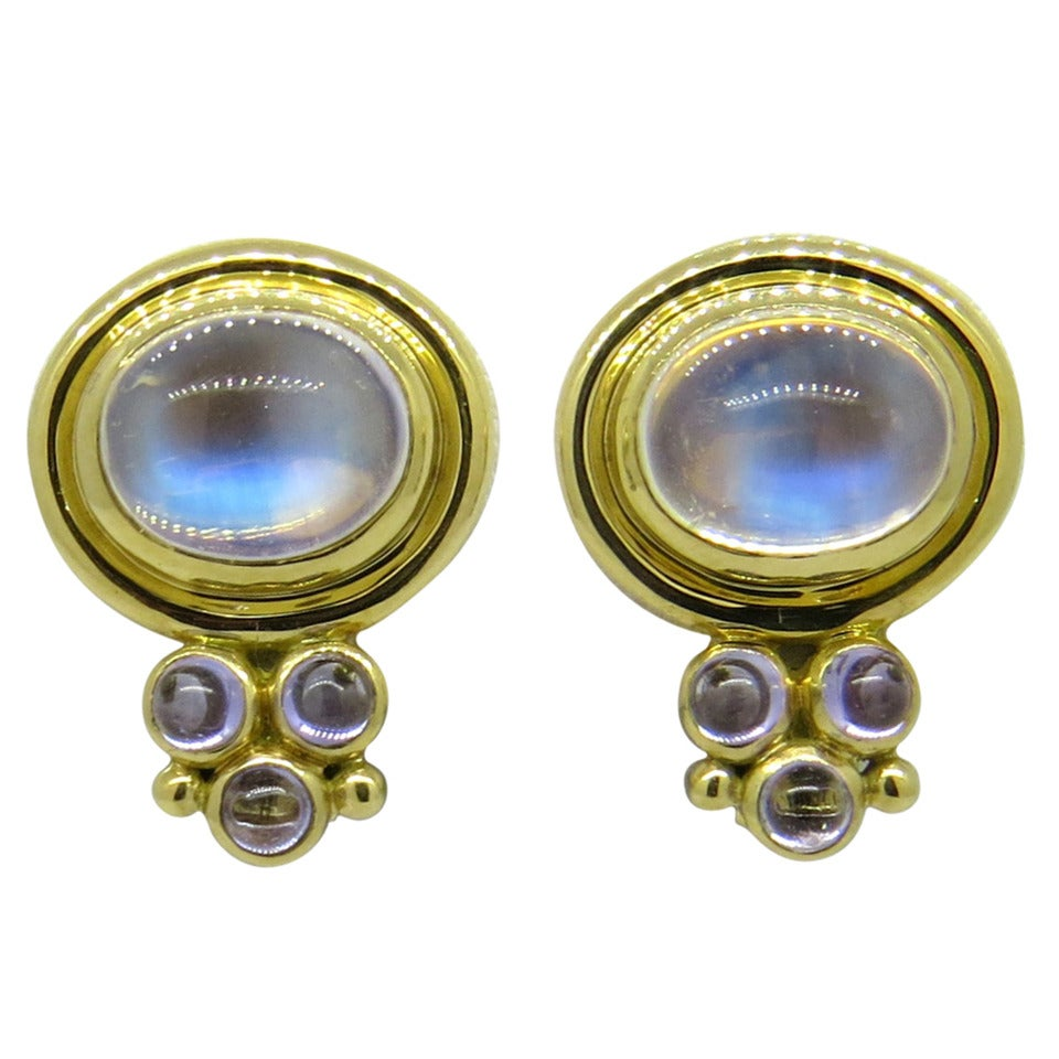 Temple St. Clair Moonstone Cabochon Gold Earrings