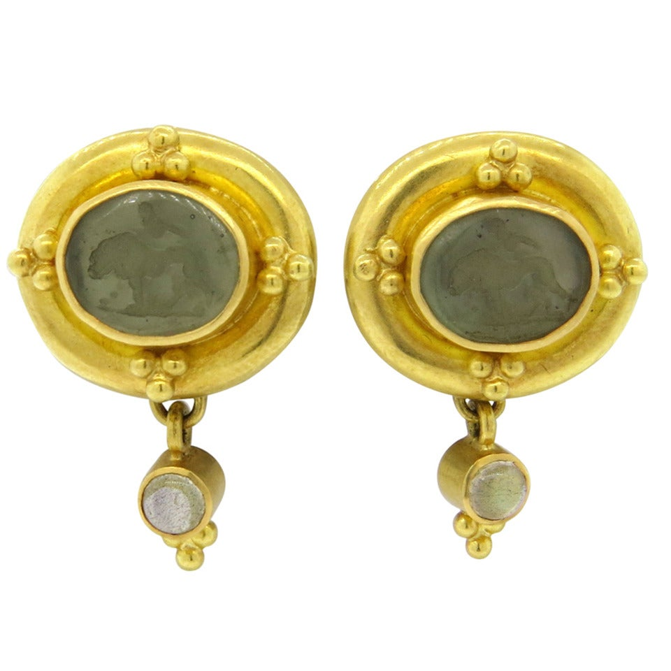 Elizabeth Locke Intaglio Venetian Glass Moonstone Gold ...