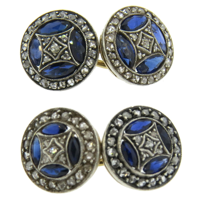 Antique Sapphire Diamond Gold Cufflinks