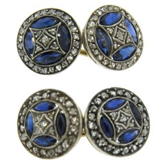 Antique Sapphire Diamond Gold Cufflinks