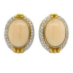 1960s Diamond Angel Skin Coral Gold Earrings
