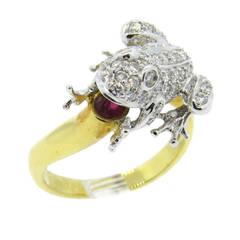Diamond Ruby Gold Frog Ring