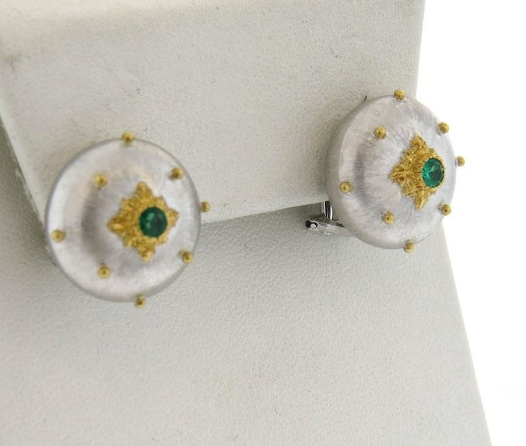 Buccellati Emerald Gold Button Earrings 3