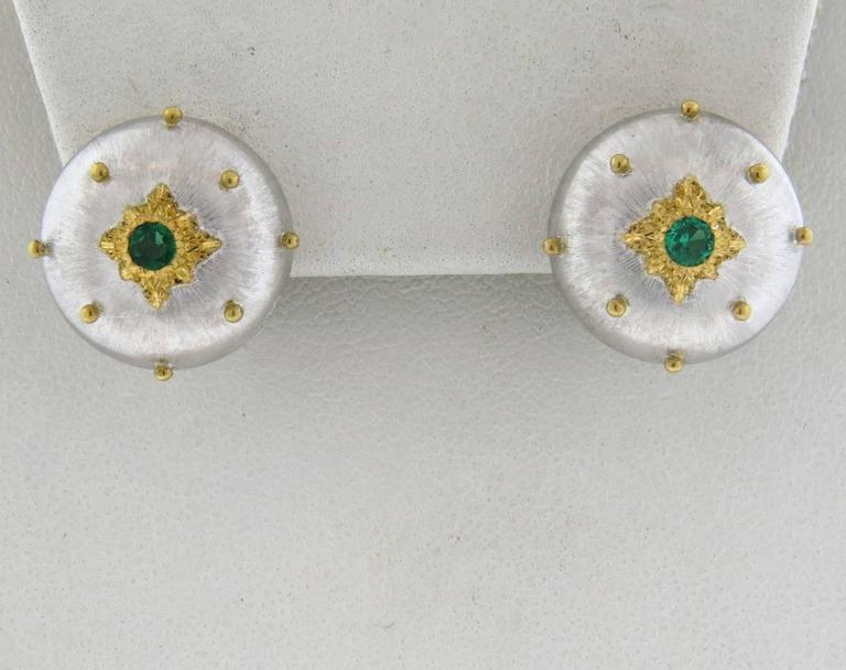 Buccellati Emerald Gold Button Earrings 4