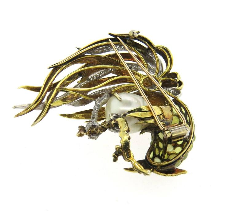Women's Exquisite Large Pearl Diamond Gold Cat's Eye Rooster Brooch Pin