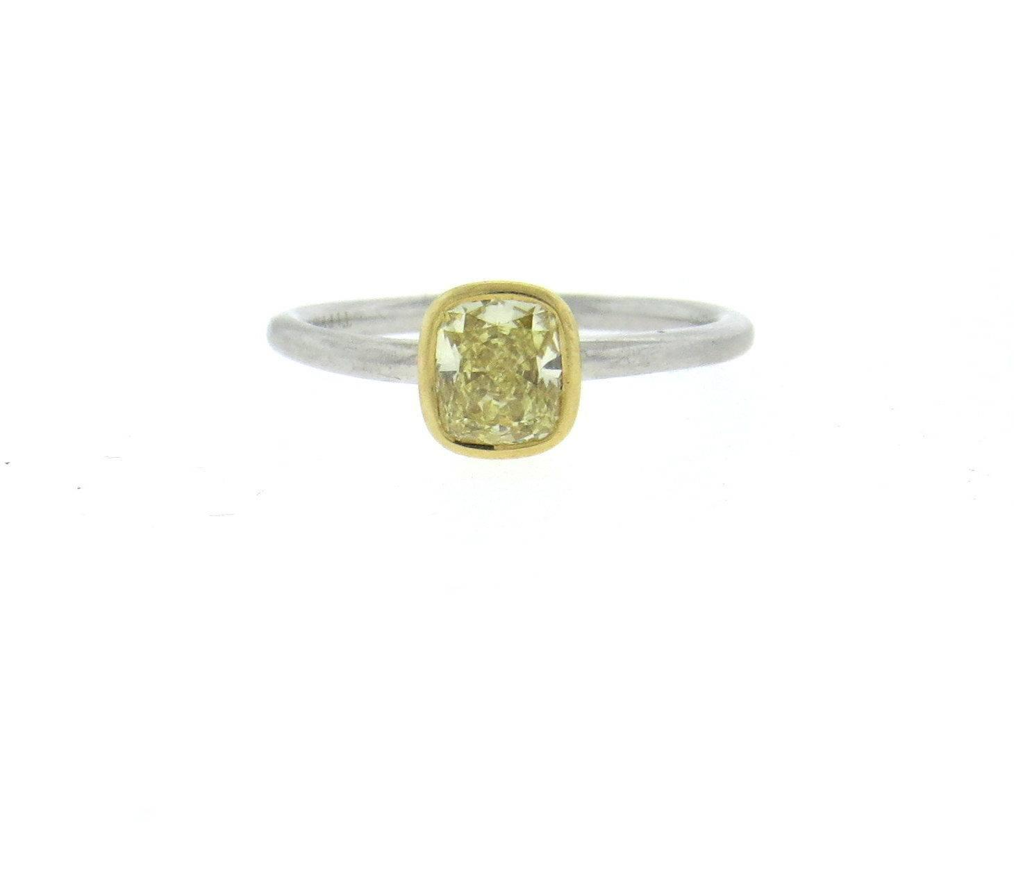 Tiffany and Co 0 75 Carat IF Fancy Yellow Diamond Gold Platinum Engagement R