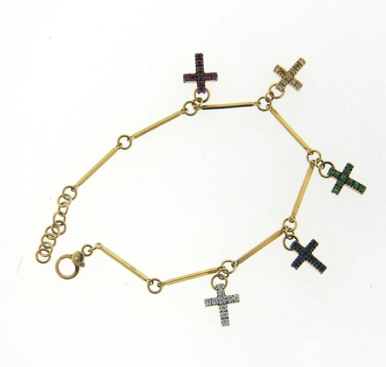 Pomellato Glory Gemstone Diamond Gold Cross Charm Bracelet In New Condition For Lahaska
