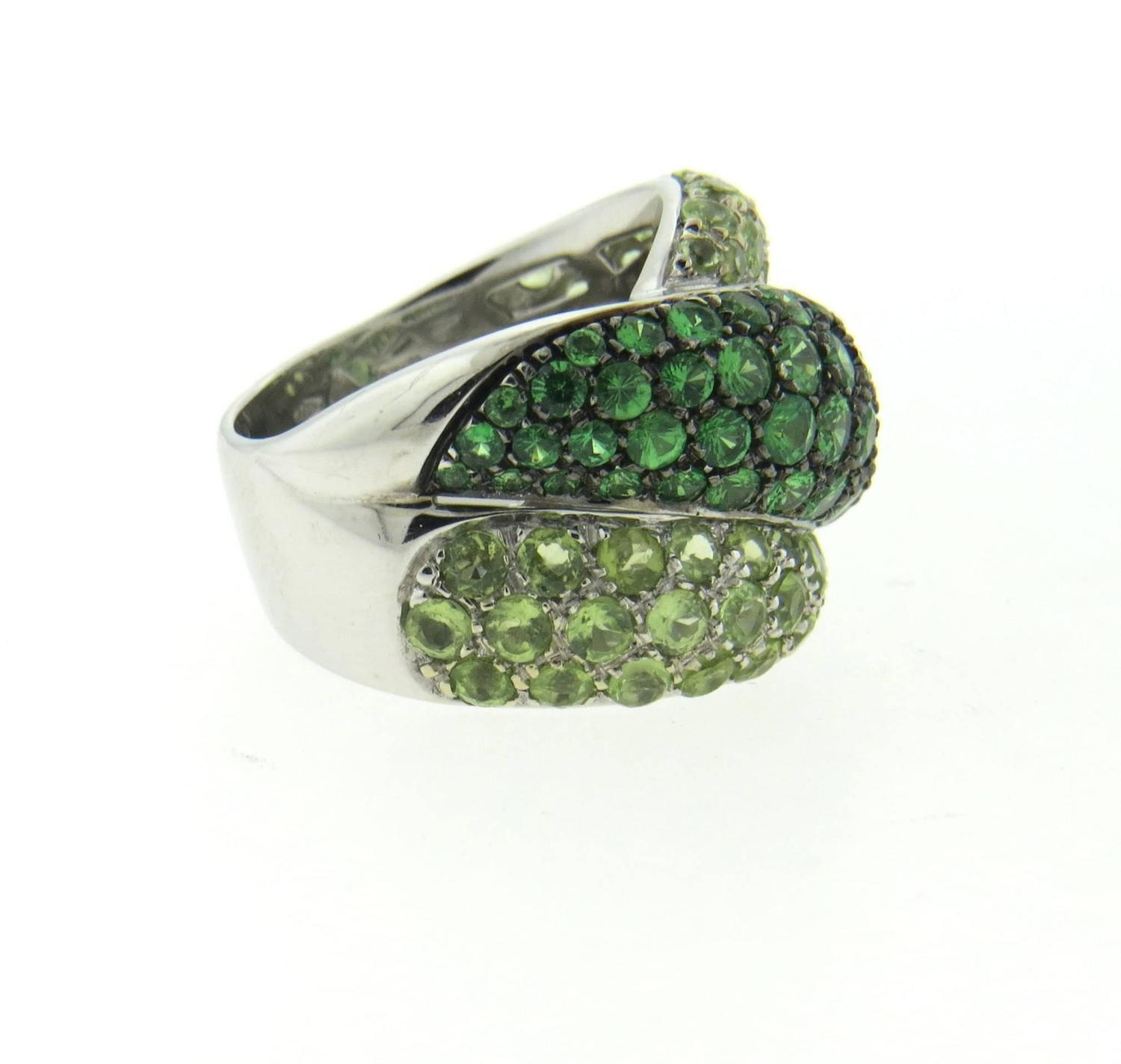 damiani impressive green sapphire gold ring for sale at