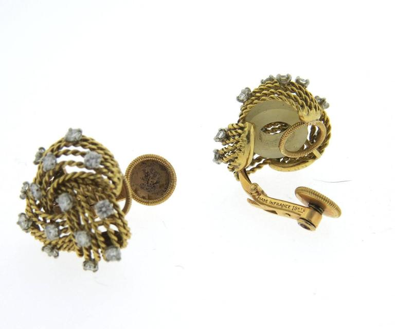 1950s Cartier Paris Diamond Gold Woven Earrings 2