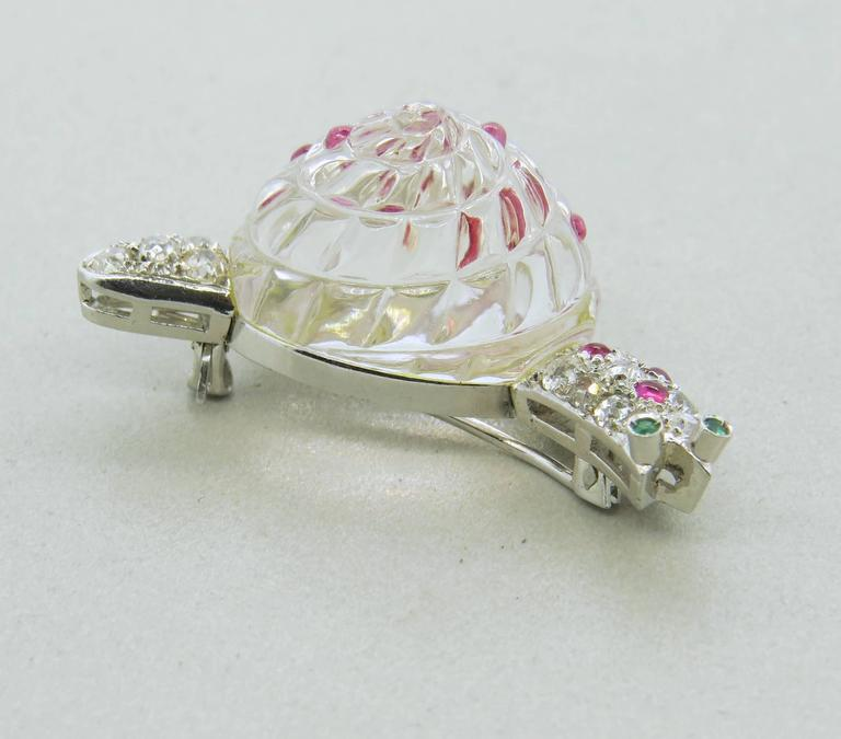 Adorable Antique Crystal Ruby Emerald Diamond Platinum Snail Brooch Pin In Excellent Condition For Sale In Boca Raton, FL