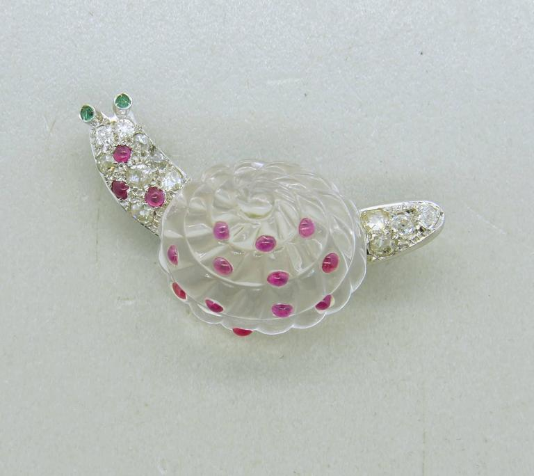 Women's Adorable Antique Crystal Ruby Emerald Diamond Platinum Snail Brooch Pin For Sale