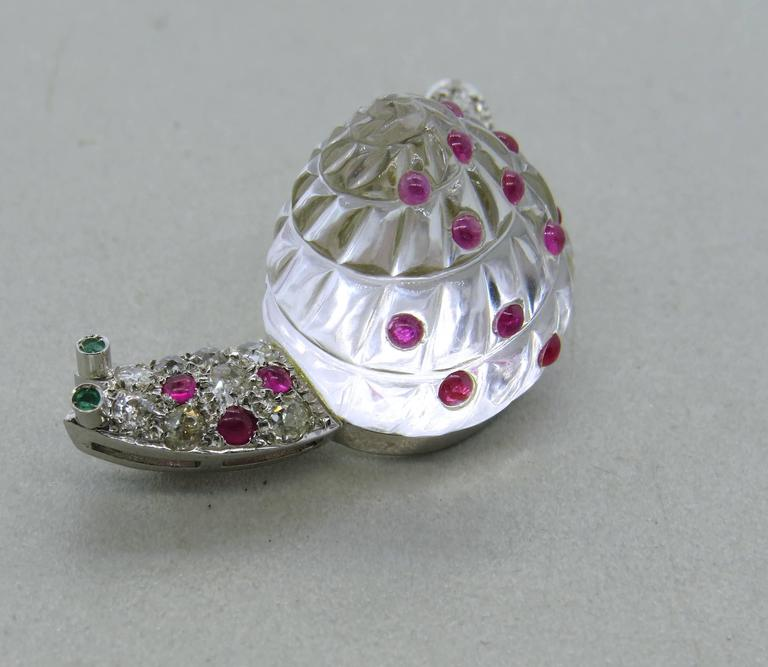Adorable Antique Crystal Ruby Emerald Diamond Platinum Snail Brooch Pin For Sale 2