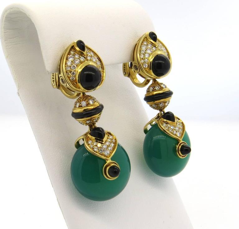 Marina B Diamond Gold Interchangeable Crystal Drop Earrings 2