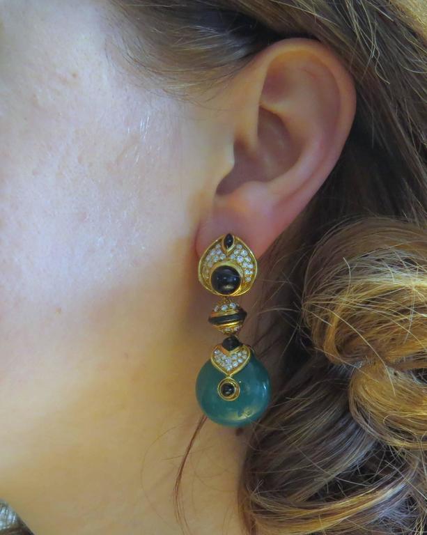 Marina B Diamond Gold Interchangeable Crystal Drop Earrings 4