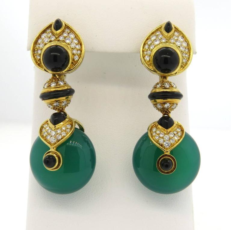 Marina B Diamond Gold Interchangeable Crystal Drop Earrings 5