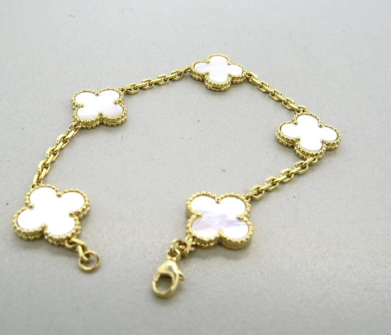 Van Cleef & Arpels Vintage Alhambra Mother of Pearl Gold Bracelet  In Excellent Condition For Sale In Lahaska, PA