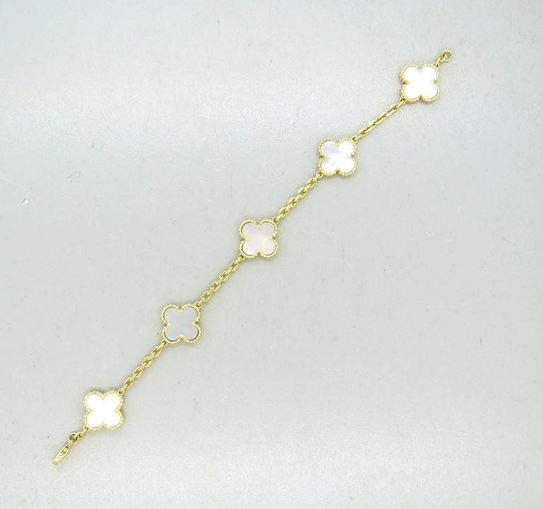Women's Van Cleef & Arpels Vintage Alhambra Mother of Pearl Gold Bracelet  For Sale