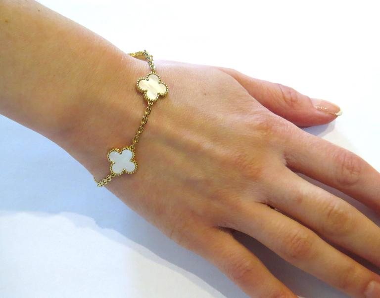 Van Cleef & Arpels Vintage Alhambra Mother of Pearl Gold Bracelet  For Sale 2