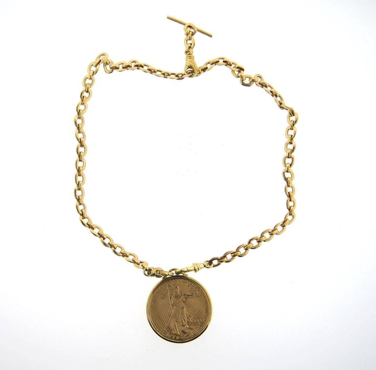 Cartier twenty dollar gold coin pendant necklace at 1stdibs an 18k yellow gold necklace set with a 1908 twenty dollar gold coin crafted by mozeypictures Images