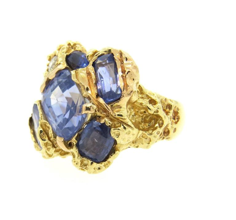 Naturalistic Natural No Heat Blue Sapphire Diamond Gold Ring In Excellent Condition For Sale In Boca Raton, FL