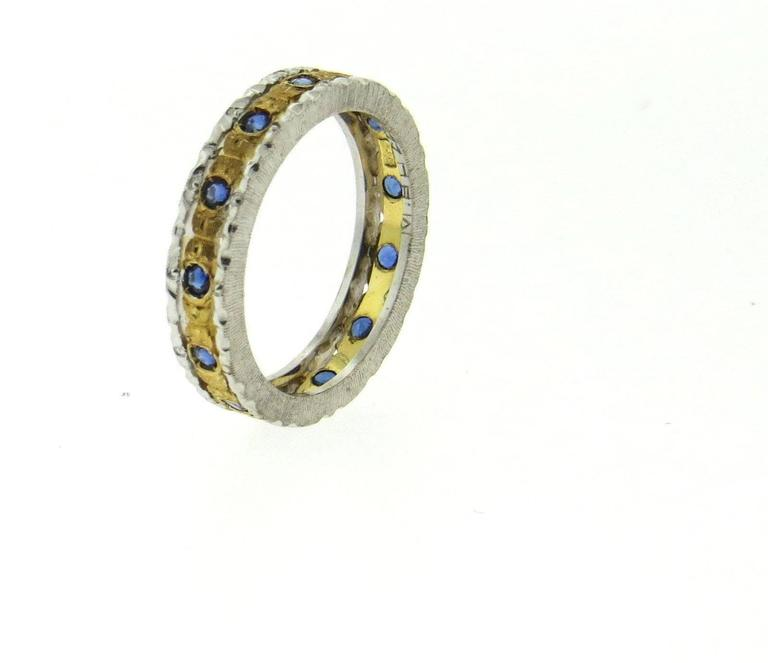 Buccellati Two Color Gold Sapphire Wedding Band Ring At