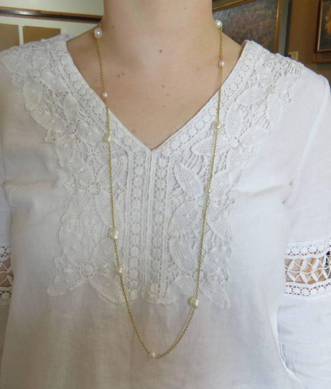 7d3cf7667 Women's Tiffany & Co. Elsa Peretti Pearls by the Yard Pearl Gold Long  Necklace For