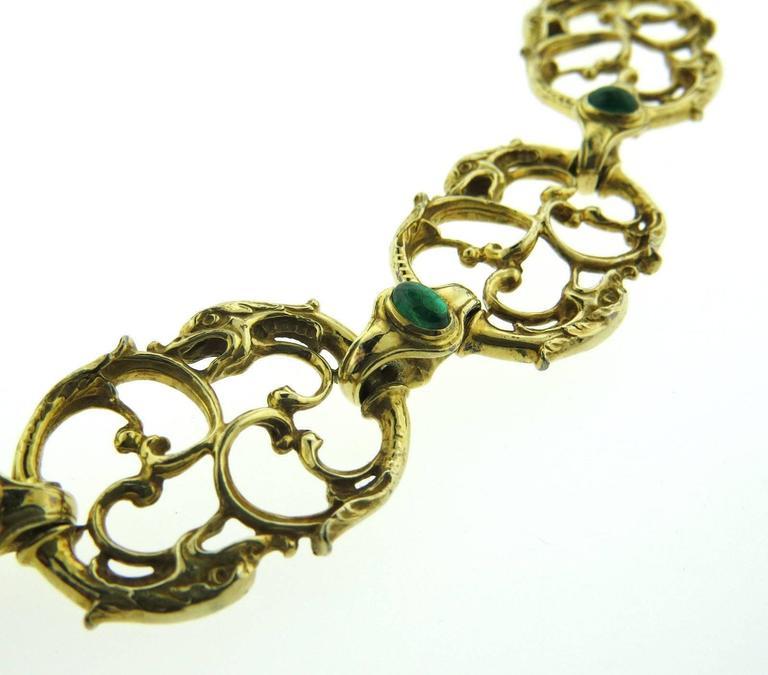 Women's Paul Lantuch Emerald Diamond Gold Snake Link Necklace