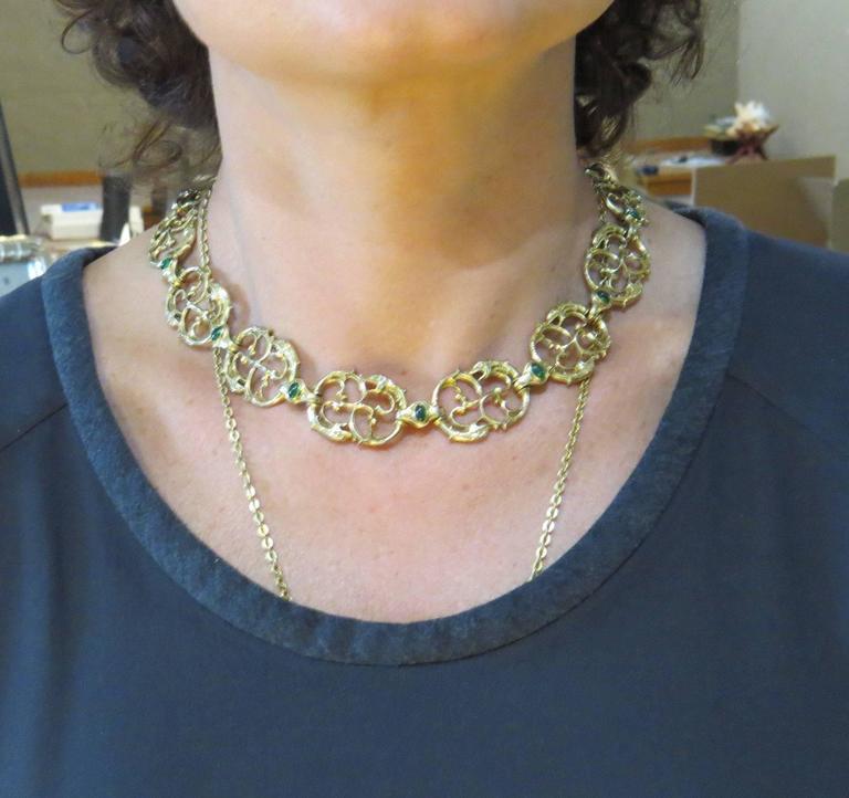 Paul Lantuch Emerald Diamond Gold Snake Link Necklace 1