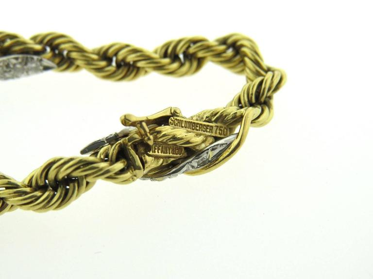 Tiffany & Co. Schlumberger Diamond Gold Platinum Leaf Rope Motif Bracelet In Excellent Condition For Sale In Lahaska, PA