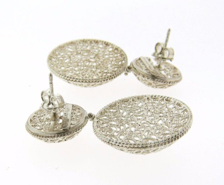 Buccellati Filidoro Silver Double Circle Drop Openwork Earrings In Excellent Condition In Lahaska, PA