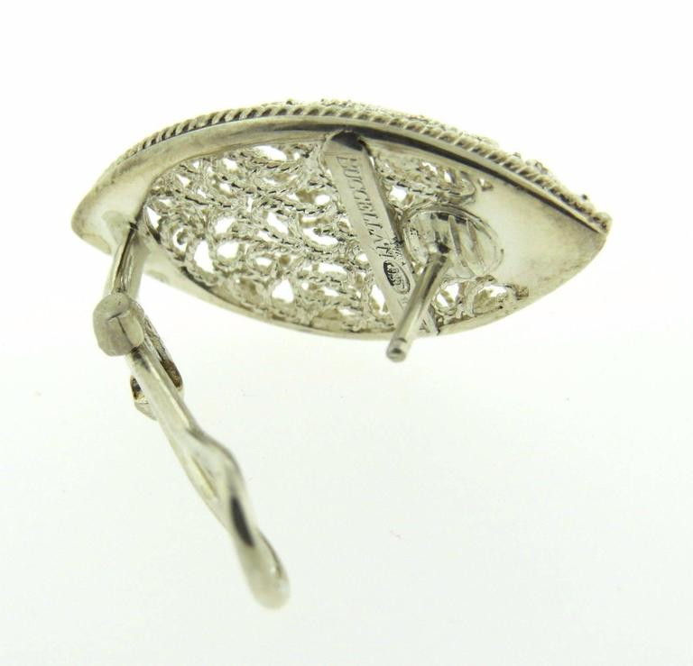 Buccellati Filidoro Silver Marquise Openwork Earrings In Excellent Condition For Sale In Lahaska, PA