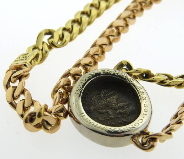 Bulgari Tricolor Gold Roman Empire Ancient Coin Necklace In Excellent Condition For Sale In Boca Raton, FL