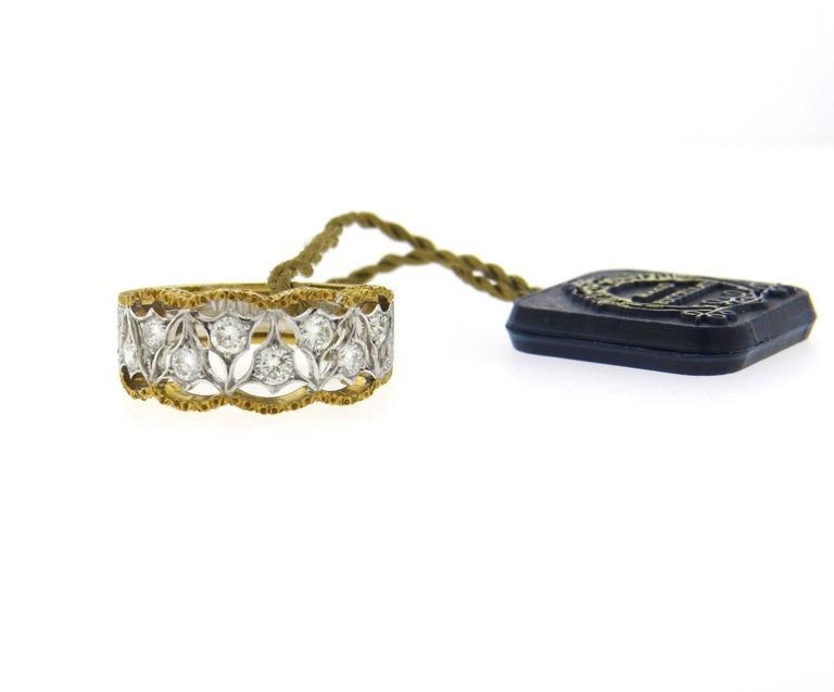 Mario Buccellati Diamond Gold Half Band Ring 3